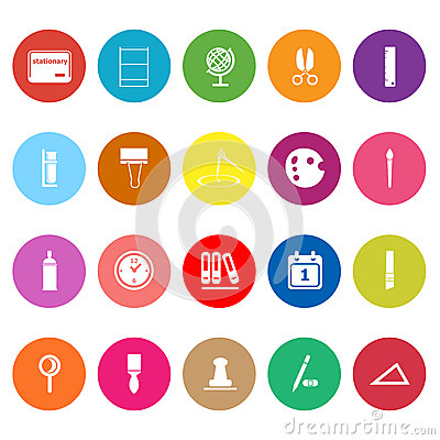 General stationary flat icons on white background