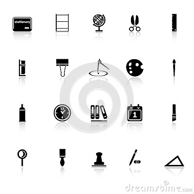 General stationary icons with reflect on white bac