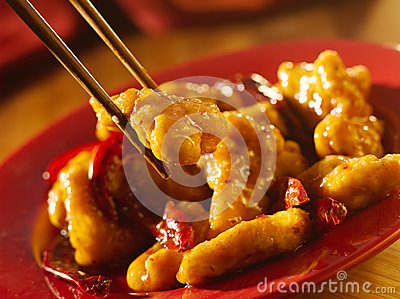 General tso s chicken with chopsticks