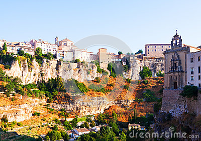 General view of Cuenca town in summer morning