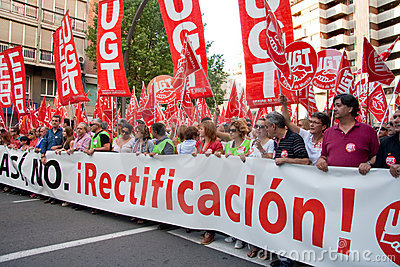 Generalstreik in Spanien Redaktionelles Foto