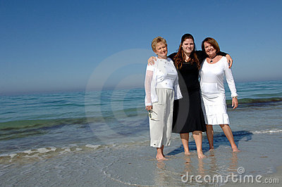 Generations of women at  beach