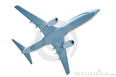 Generic Airplane Model On White Royalty Free Stock Image - Image: 1282476