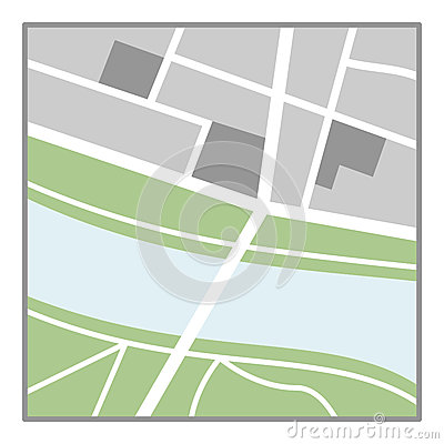 Generic Map Flat Icon Isolated on White Vector Illustration