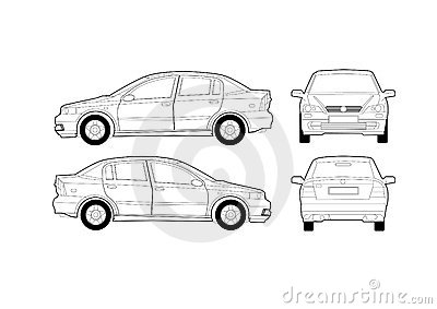 Royalty Free Stock Photography Generic Saloon Car Diagram Image1159987