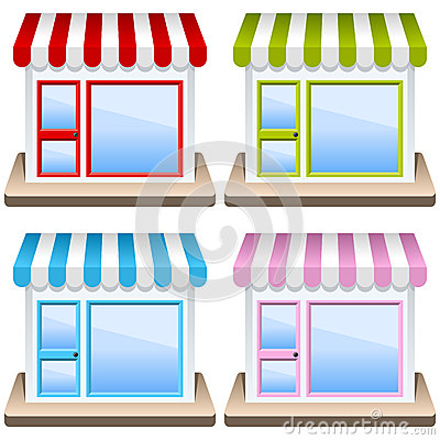 Free Generic Shop Building Icon Set Stock Images - 28586394