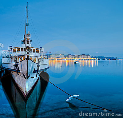 Geneva Cityscape - Tourist Cruise Ship Editorial Photography
