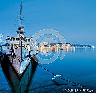 Geneva Cityscape - Tourist Cruise Ship Editorial Photography