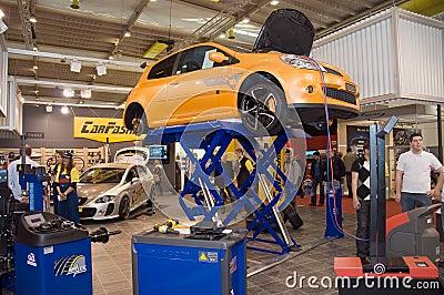 Geneva Motor Show 2009 - Car on raiser Editorial Image