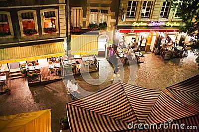 Geneva street and restaurants Editorial Photo