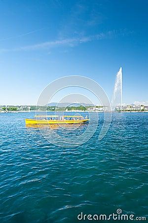 Geneva Water Fountain Mouette Passenger Boat