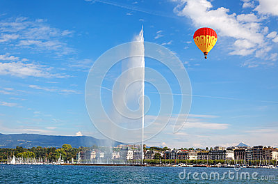Geneva water jet on Lake Leman at summer Editorial Photography