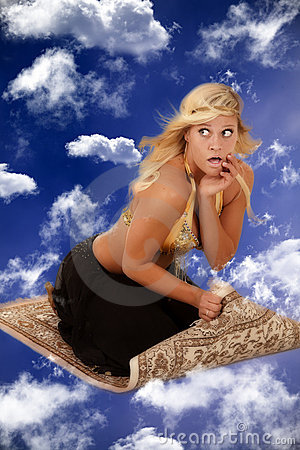 Genie on a flying carpet