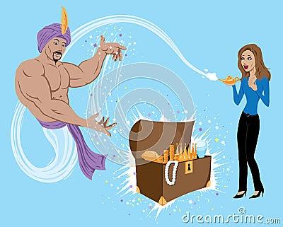 Genie Granting Wish