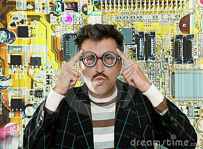Genius nerd electronic engineer tech man thinking