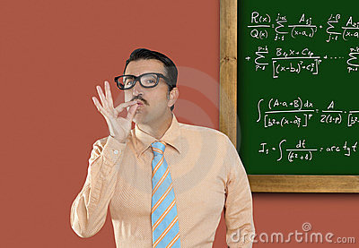 Genius Nerd Glasses Silly Man Board Math Formula Royalty Free Stock Photos - Image: 20585318