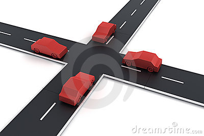 Genomskärning för 4 bilar