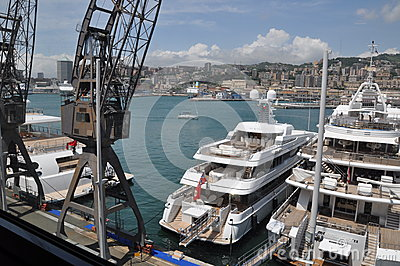 Genova Port Italy the yacht show Editorial Image