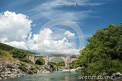 Genovese bridge near Altiani (Corsica)
