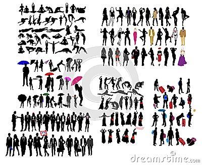 Genre différent de silhouettes