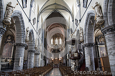 Gent - Nave of gothic church Saint Jacob