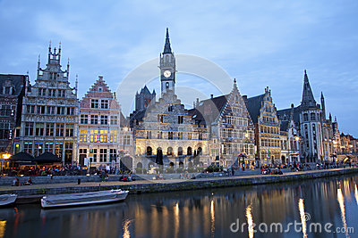 Gent - Palaces in evening from Kore
