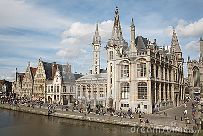 Gent - Post palace and Graselei street Editorial Stock Photo