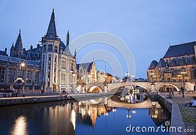 Gent - Post palace and st. Michael s bridge