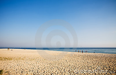 Gente juguetona en una playa
