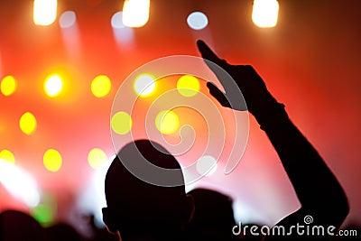 Gente que disfruta de concierto
