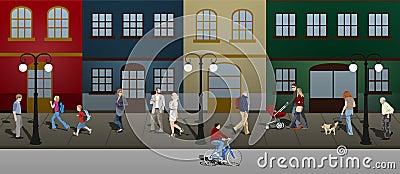 Gente que recorre abajo de la calle