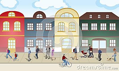 Gente que recorre a través de la ciudad