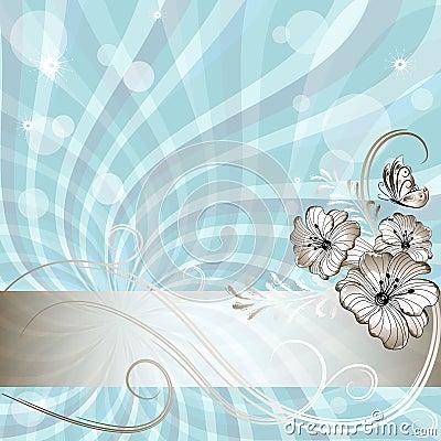 Gentle blue floral frame