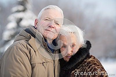 Gentle portrait of an elderly couple