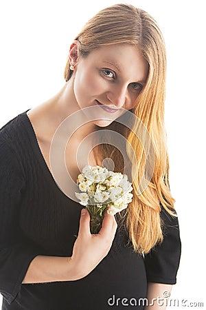 Gentle pretty pregnant blonde woman