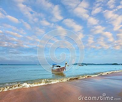 Gentle warm morning on fantastic sea coast