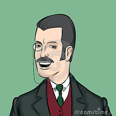 Gentleman with moustaches and monocle