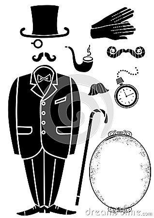 Gentleman retro suit and Accessories.Vector symbol