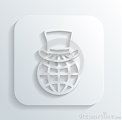 Gentleman s hat on a globe icon vector