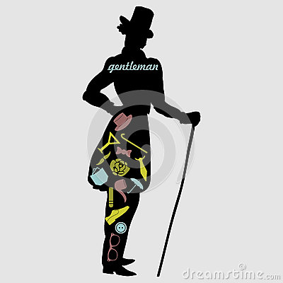 Gentleman s silhouette with various accessories