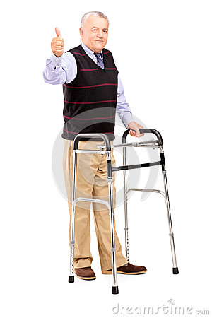 Gentleman using walker and giving a thumb up