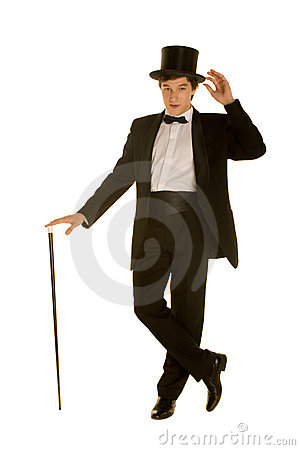 gentlemen in suit with top hat and cane royalty free stock