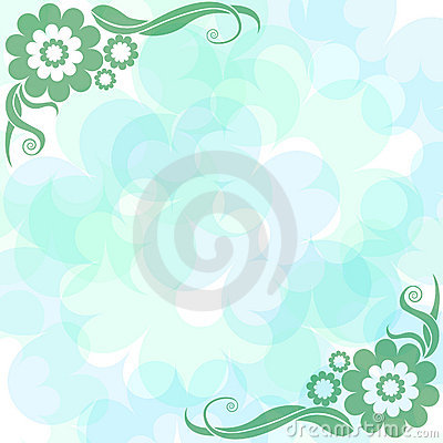 Gently blue background with flowers