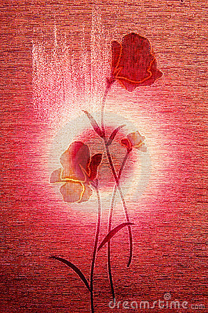 Gently poppies on the canvas.