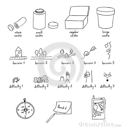 Geocaching outline illustration