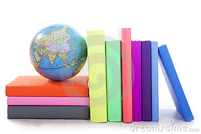 Geography books with a globe