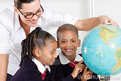 Geography teacher and students