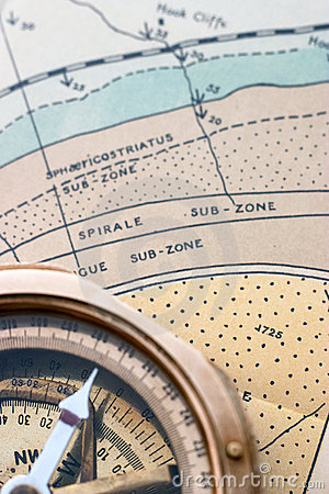 Geological map and compass
