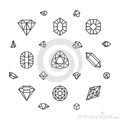 Free Geometric 3d Crystal Shapes, Diamond, Gems Thin Line Vector Icons Royalty Free Stock Photos - 82768178