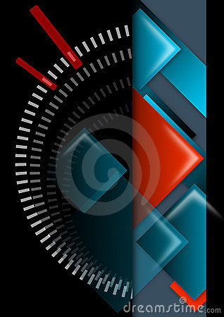 Geometric abstract background black, red and blue